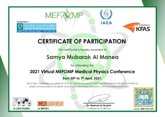 2021 MEFOMP Virtual Conference Certificates