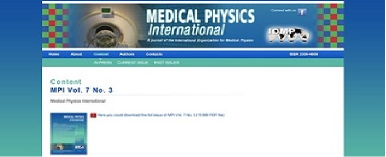 New issue of the IOMP Journal Medical Physics International