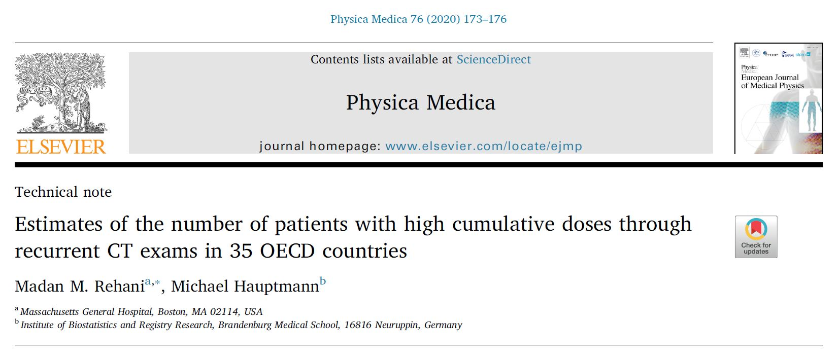 New article about high cumulative doses in Physica Medica Journal