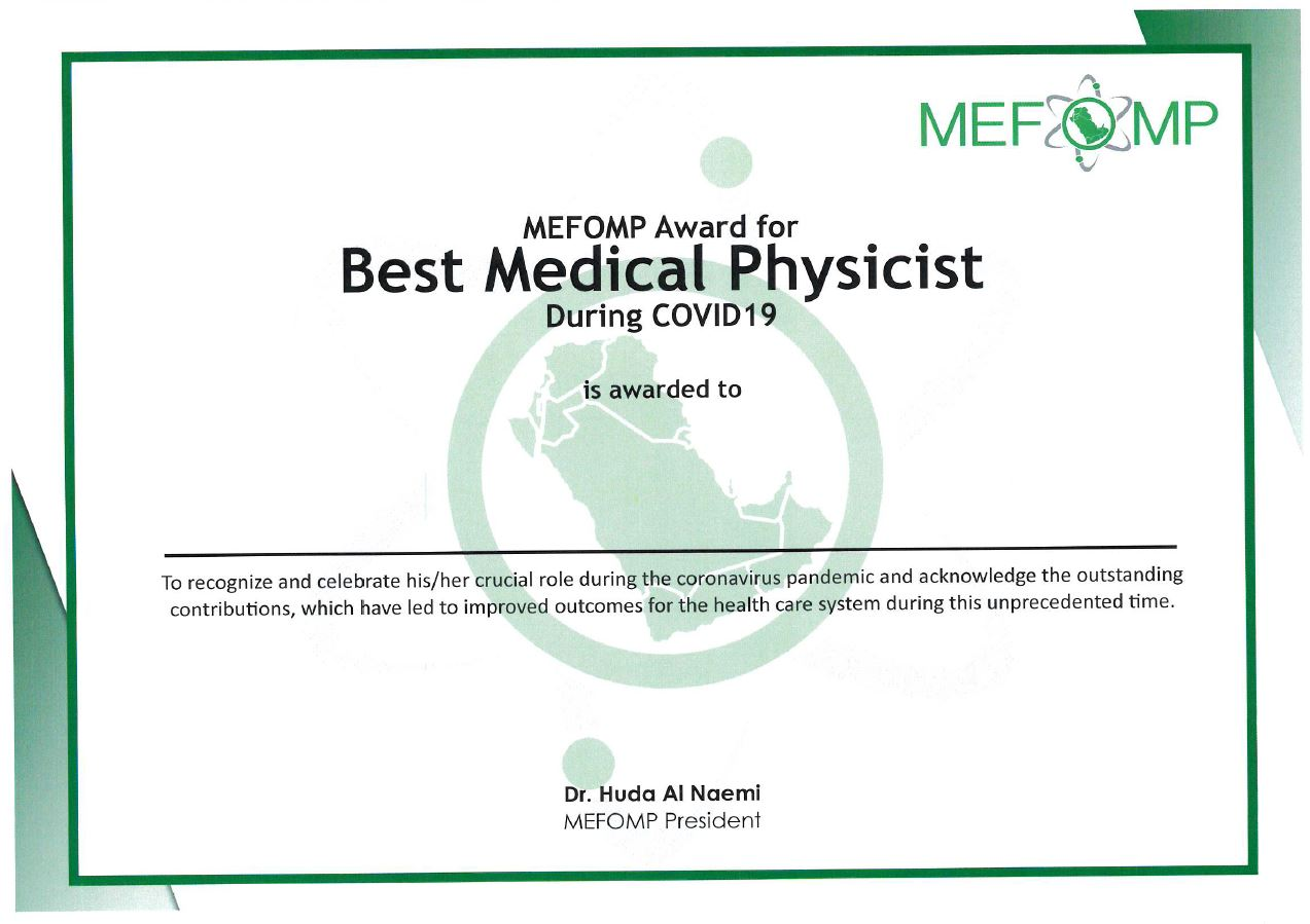 Winners of the MEFOMP Award for Best Medical Physicist during COVID19