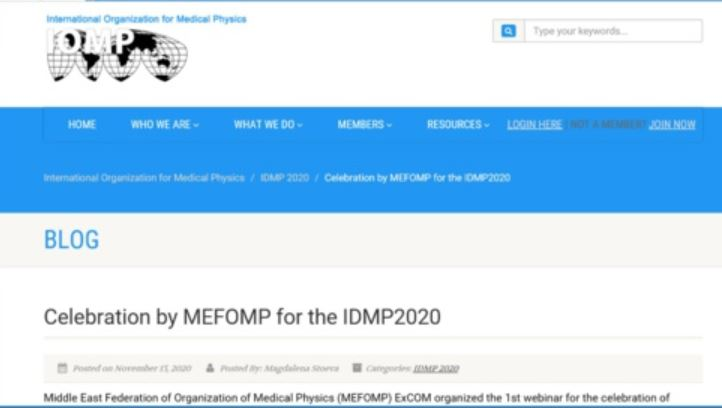MEFOMP IDMP celebrations on IOMP website