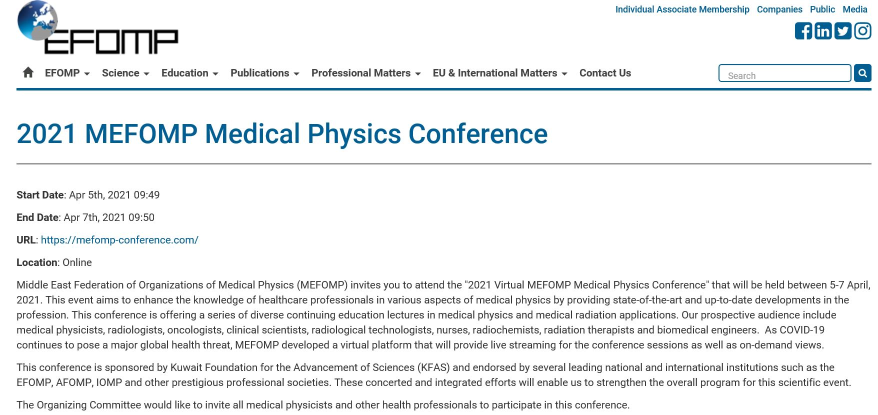MEFOMP Conference publicized on EFOMP Website