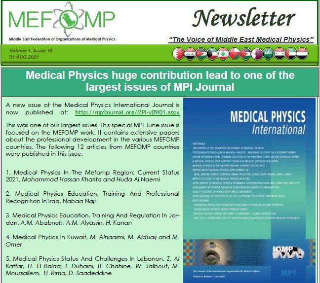 MEFOMP Tenth Newsletter
